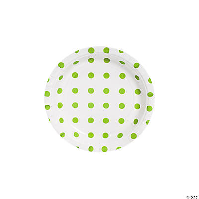 Lime Green Polka Dot Dessert Plates