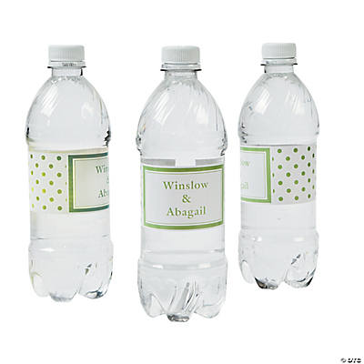 Lime Green Polka Dot Personalized Water Bottle Labels