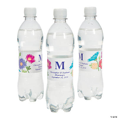 Love in Bloom Wedding Water Bottle Labels