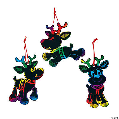 Magic Color Scratch Reindeer Christmas Ornaments