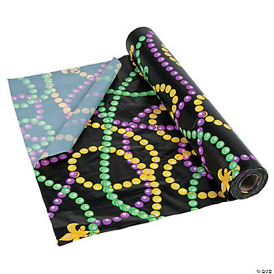 Mardi Gras Beads Plastic Tablecloth Roll