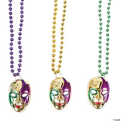 Mardi Gras Beads with Mask Charms