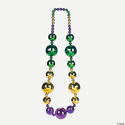 Mardi Gras Disco Ball Beaded Necklace