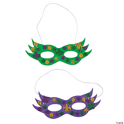 Mardi gras glitter mask craft kit for Mardi gras masks crafts