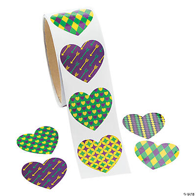 Mardi Gras Heart-Shaped Sticker Roll