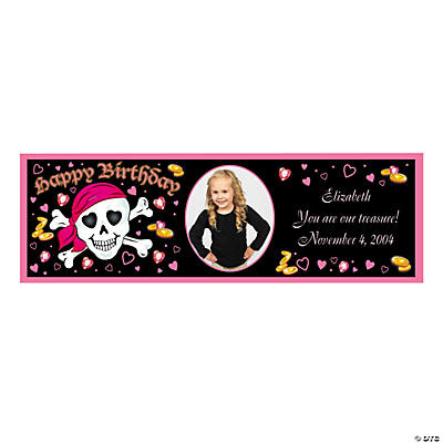 Medium Pink Pirate Custom Photo Banner
