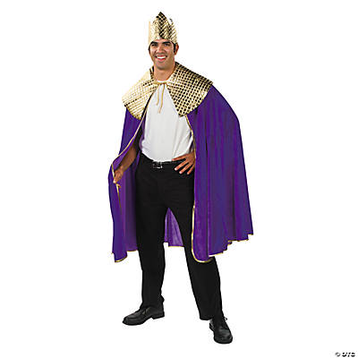 Men's Purple Wise Man's Cape with Crown Costume