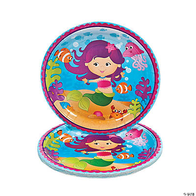 8 Mermaid Party Dinner Plates