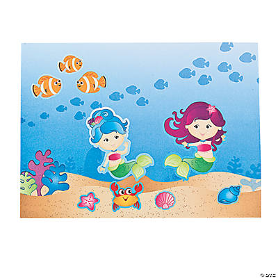 Mermaid Party Scene Stickers