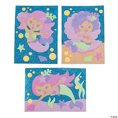Mermaid sand art pictures oriental trading discontinued for Mermaid arts and crafts