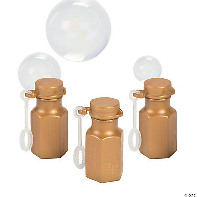 Metallic Gold Hexagon Bubble Bottles
