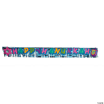 "Metallic ""Happy Hanukkah"" Fringed Banner"