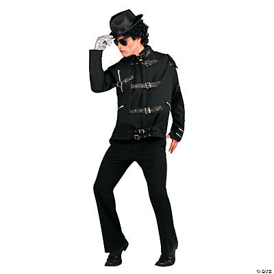 Michael Jackson Bad Black Buckle Jacket Deluxe Adult Men's Costume