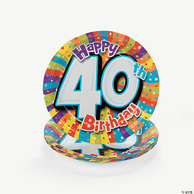Milestone Birthday Dessert Plates - 40th