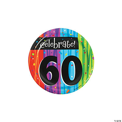 Milestone Celebration 60th Birthday Paper Dessert Plates