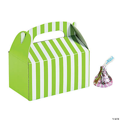 Mini Lime Green Striped Treat Boxes