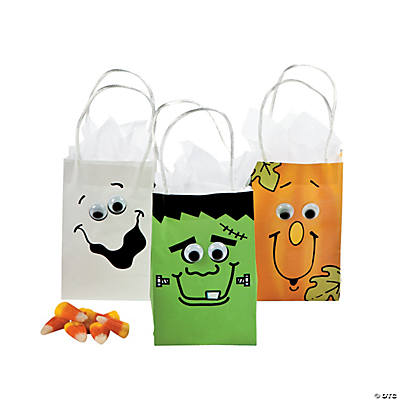Mini Paper Halloween Bags with Wiggle Eyes Assortment