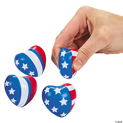 Mini Patriotic Heart Stress Toys