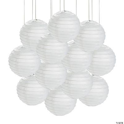 Mini white hanging paper lanterns - White hanging paper lanterns ...