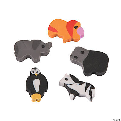 Mini Zoo Animal Erasers