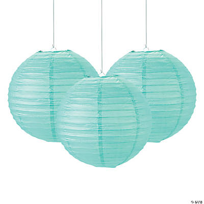 Mint Green Paper Lanterns - 12""