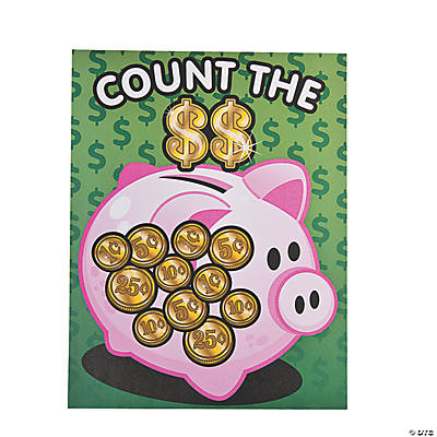 12 Money Counting Piggy Bank Sticker Scenes
