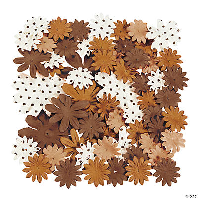 60 Monochromatic Brown Paper Flowers