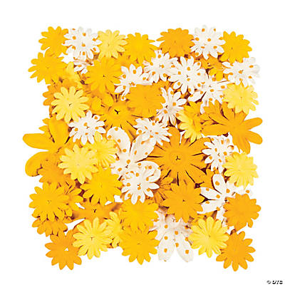 60 Monochromatic Yellow Paper Flowers