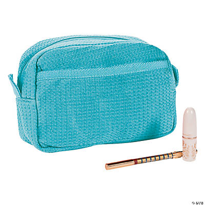 Monogrammed Light Blue Waffle Weave Cosmetic Bag