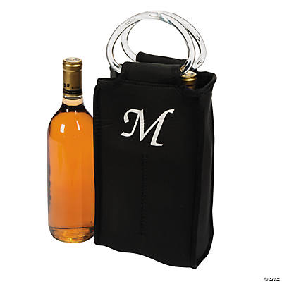Monogrammed Two-Bottle Wine Tote - Black