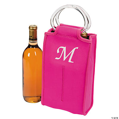 Monogrammed Two-Bottle Wine Tote - Hot Pink