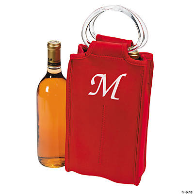 Monogrammed Two-Bottle Wine Tote - Red