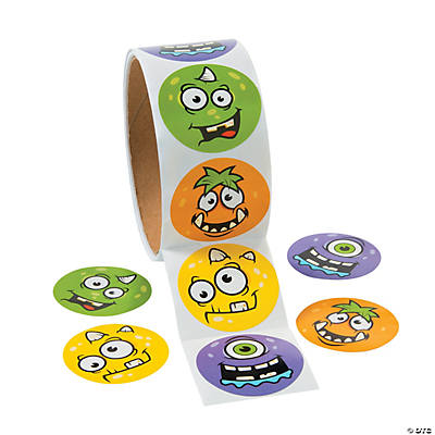 Monster Face Roll of Stickers