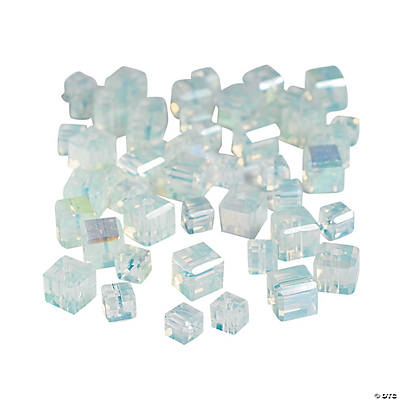 Moonstone Cube AB Cut Crystal Beads - 4mm-6mm