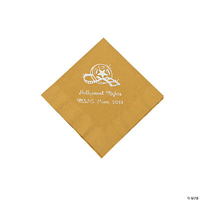 Movie Night Gold Personalized Beverage Napkins with Silver Print