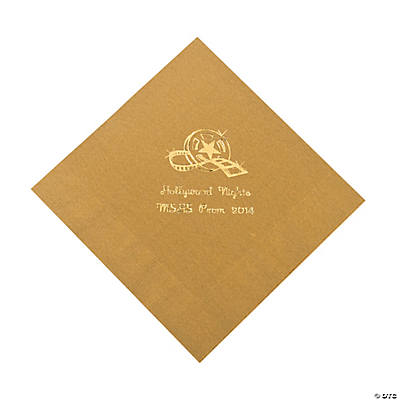 Movie Night Gold Personalized Luncheon Napkins with Gold Print