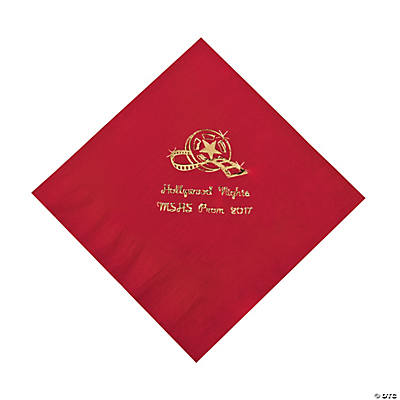 Movie Night Red Personalized Luncheon Napkins with Gold Print