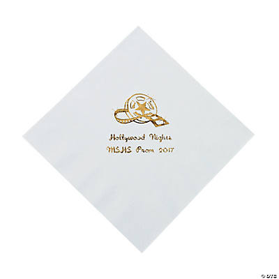 Movie Night White Personalized Luncheon Napkins with Gold Print