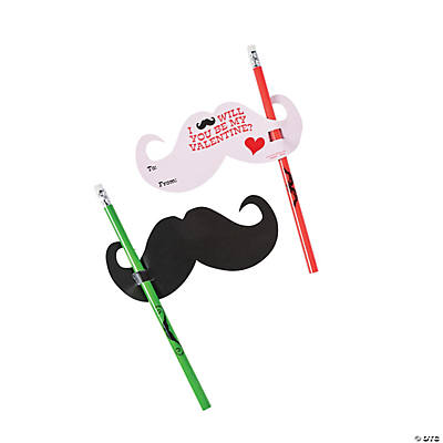 Mustache Valentine Cards with Pencils