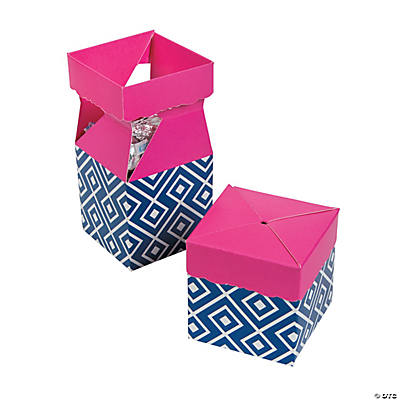 Navy & Hot Pink Pop Top Favor Boxes