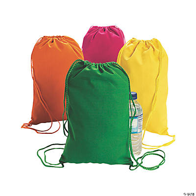 Neon Canvas Drawstring Backpacks