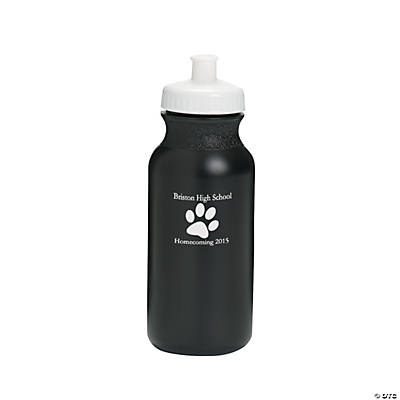Opaque Black Paw Print Personalized Water Bottles - 20 oz.