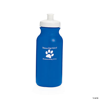 Opaque Blue Paw Print Personalized Water Bottles - 20 oz.