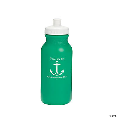 Opaque Green Anchor Personalized Water Bottles - 20 oz.