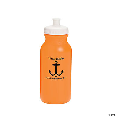 Opaque Orange Anchor Personalized Water Bottles - 20 oz.