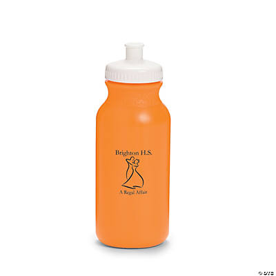 Opaque Orange Prom Couple Personalized Water Bottles - 20 oz.