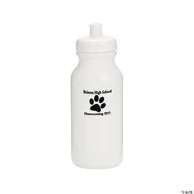 Opaque White Paw Print Personalized Water Bottles - 20 oz.
