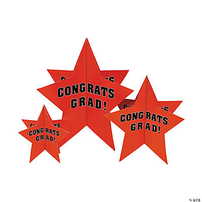 "Orange ""Congrats Grad!"" Stars Centerpiece"