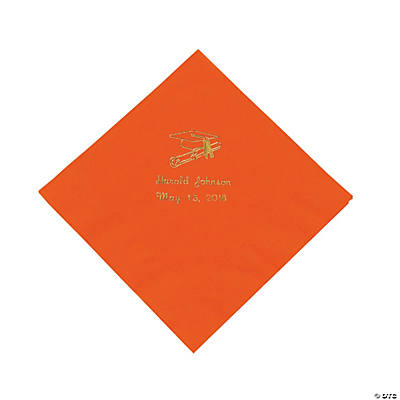 Orange Graduation Personalized Luncheon Napkins with Gold Print