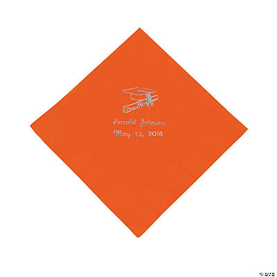 Orange Graduation Personalized Luncheon Napkins with Silver Print
